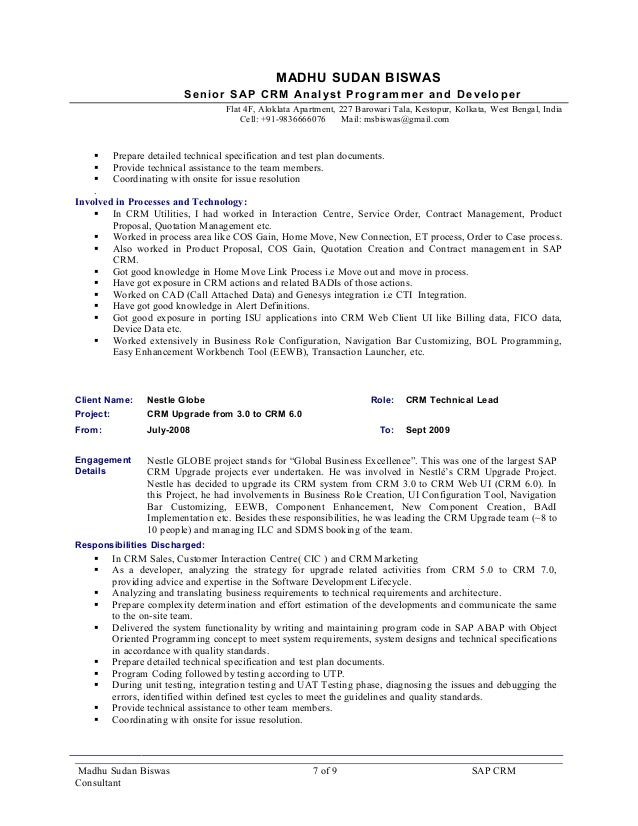resume sap crm consultant  madhusudan biswas 9 5yrs exp