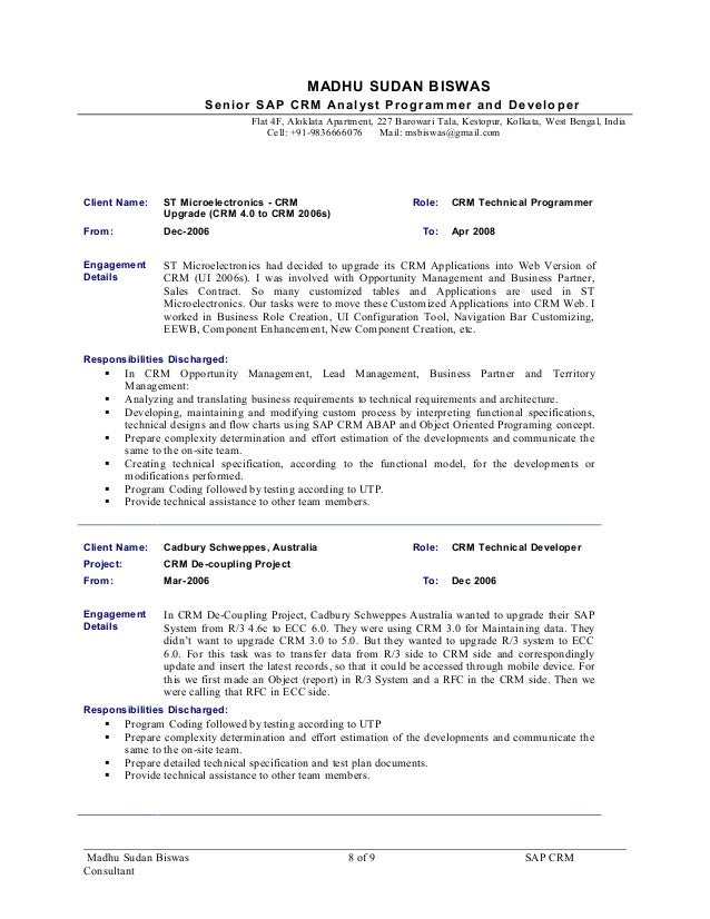 resume sap crm consultant madhusudan biswas 9 5yrs exp for sap crm a