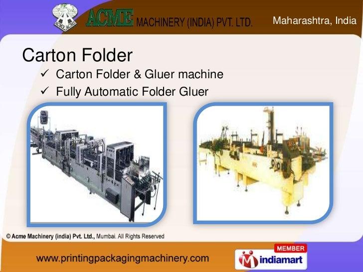 Carton Folder And Gluer Machine By Acme Machinery India