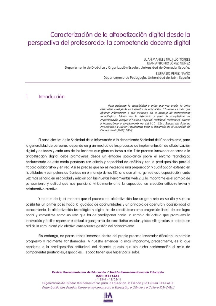 Caracterización de la alfabetización digital desde la perspectiva del profesorado: la competencia docente digital         ...