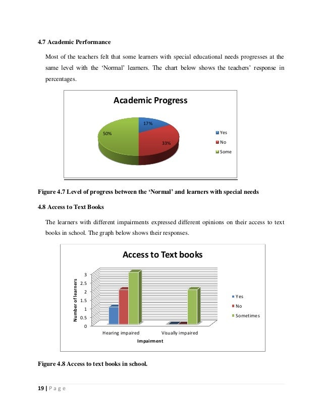 19   P a g e 4.7 Academic Performance Most of the teachers felt that some learners with special educational needs progress...