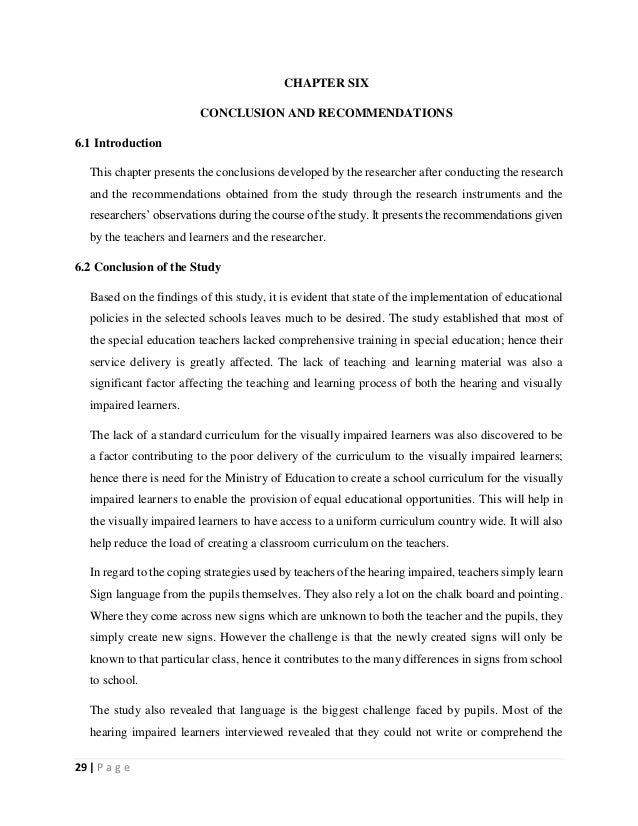 29   P a g e CHAPTER SIX CONCLUSION AND RECOMMENDATIONS 6.1 Introduction This chapter presents the conclusions developed b...