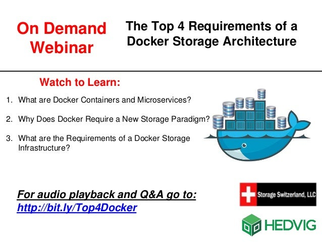 The Top 4 Requirements of a Docker Storage Architecture Watch to Learn: 1. What are Docker Containers and Microservices? 2...