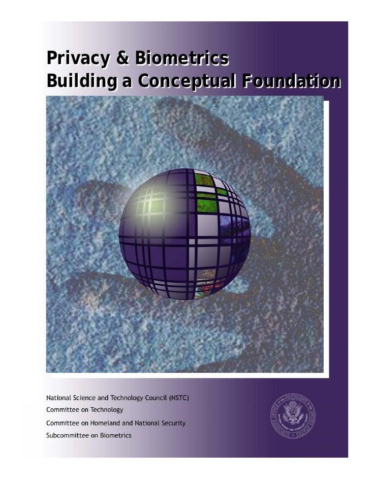 Privacy & Biometrics Building a Conceptual Foundation