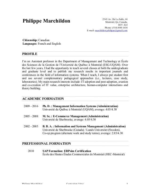philippe marchildon - curriculum vitae - version 9