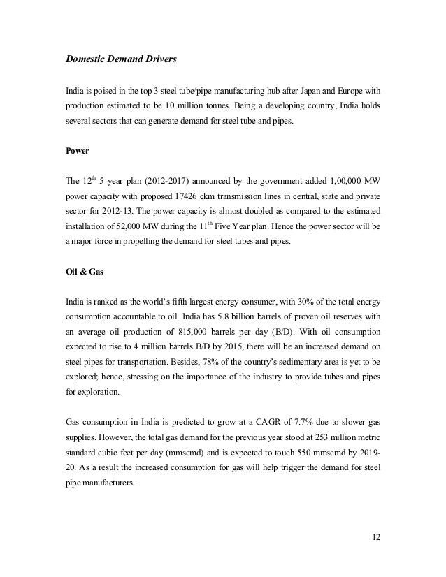 Indian Steel Pipe Industry Report