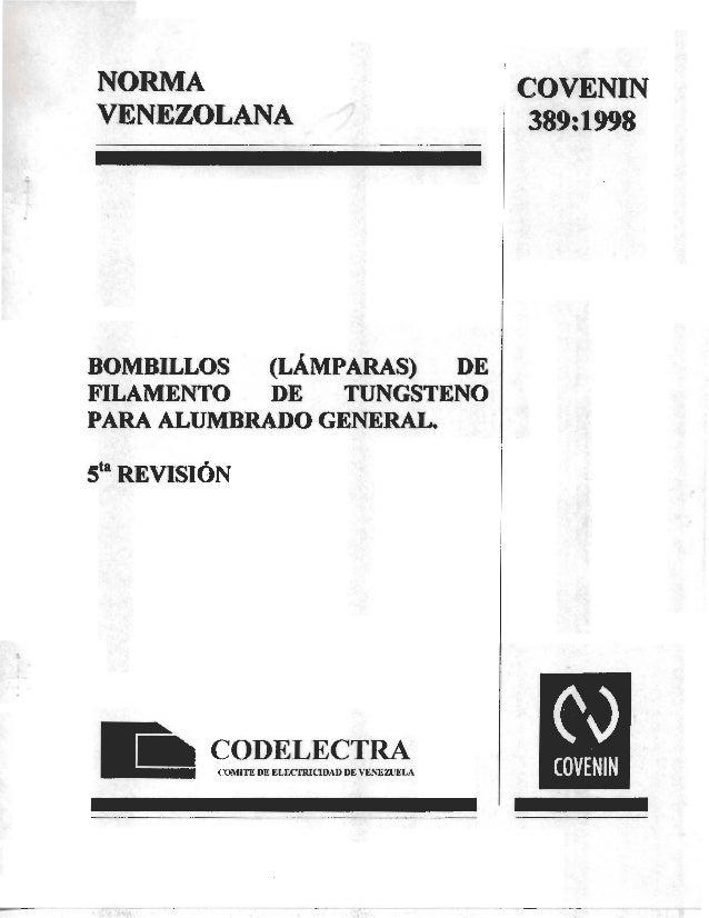COVENIN 389-98 bombillos de uso general
