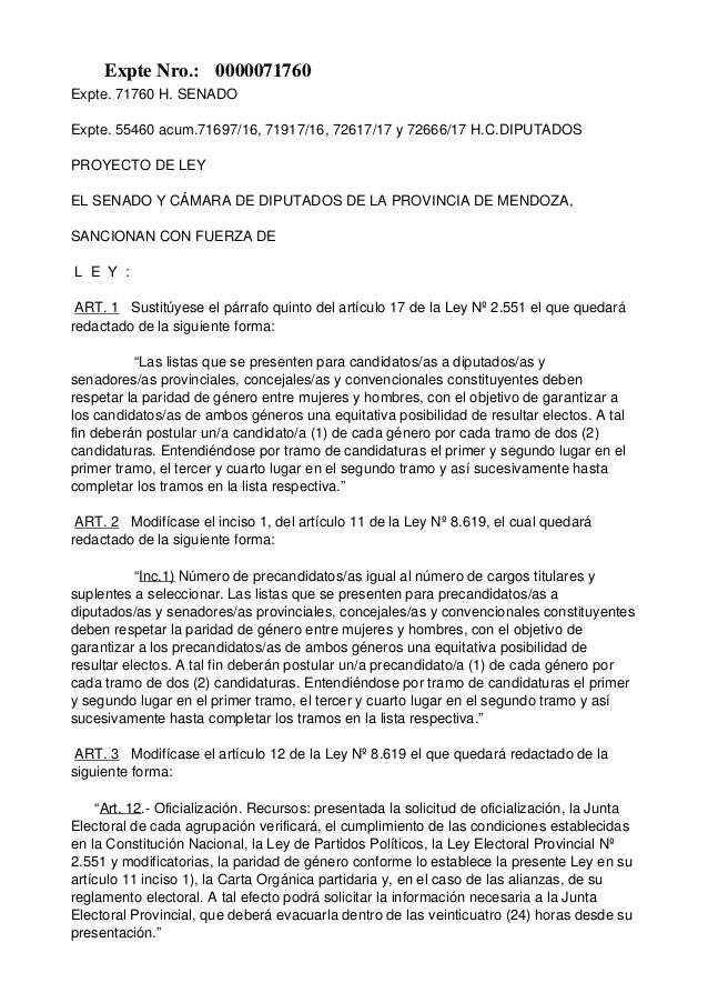 Expte. 71760 H. SENADO Expte. 55460 acum.71697/16, 71917/16, 72617/17 y 72666/17 H.C.DIPUTADOS PROYECTO DE LEY EL SENADO Y...