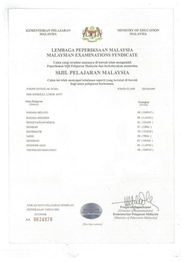 sijil pelajaran malaysia sijil pelajaran malaysia