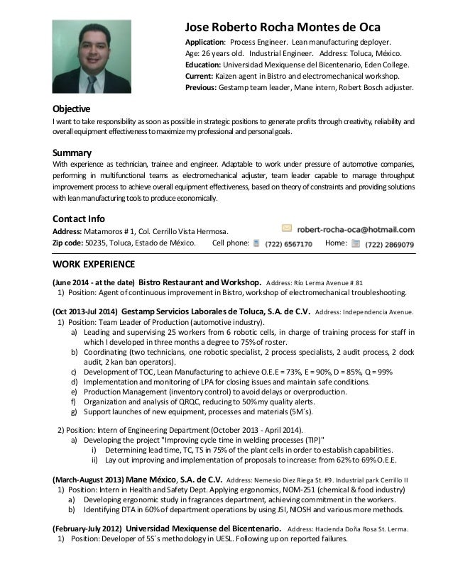 resume and cover letter  english