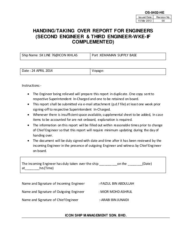 Handover Note Sample Handover Note Template Handover Report
