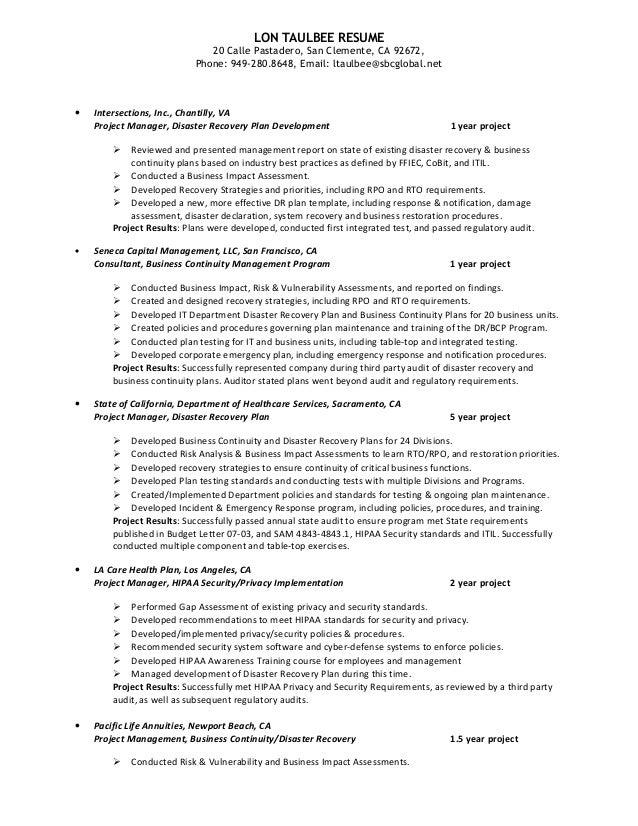 Disaster restoration resume