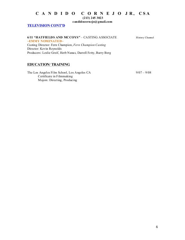 CCORNEJO CASTING COORDINATOR RESUME