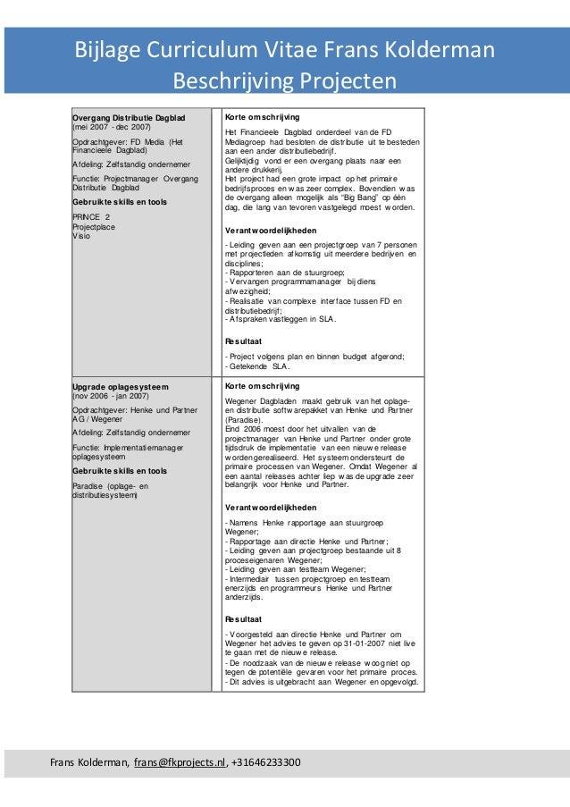 bijlage curriculum vitae met hoofdletters