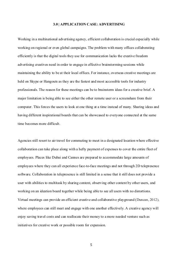 5 3.0   APPLICATION CASE: ADVERTISING Working in a multinational advertising agency, efficient collaboration is crucial e...