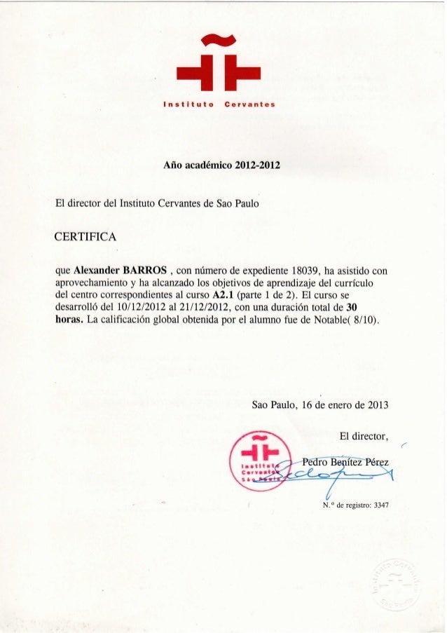 Instituto Cervantes - Curso A2.1 - 2012