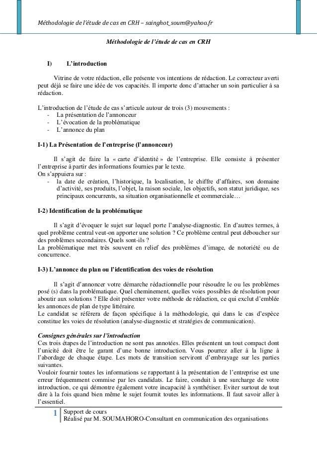 Méthodologie de l'étude de cas en CRH – sainghot_soum@yahoo.fr                             Méthodologie de l'étude de cas ...
