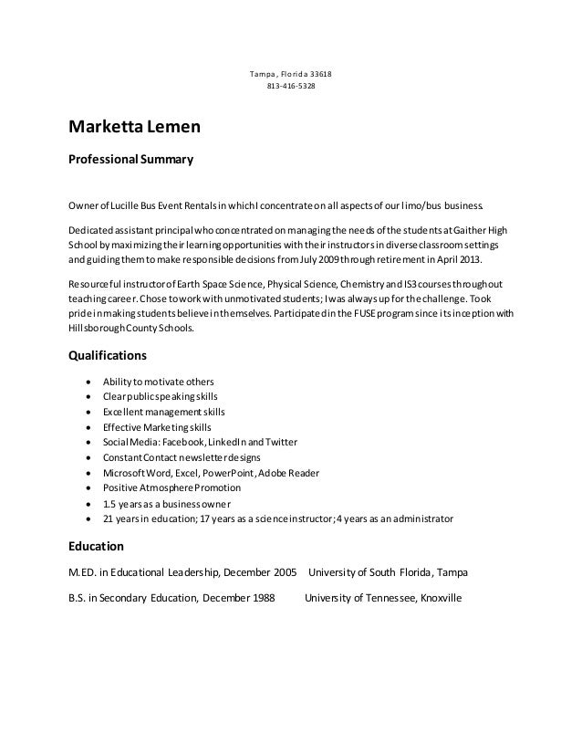 Marketta's Business Resume without address