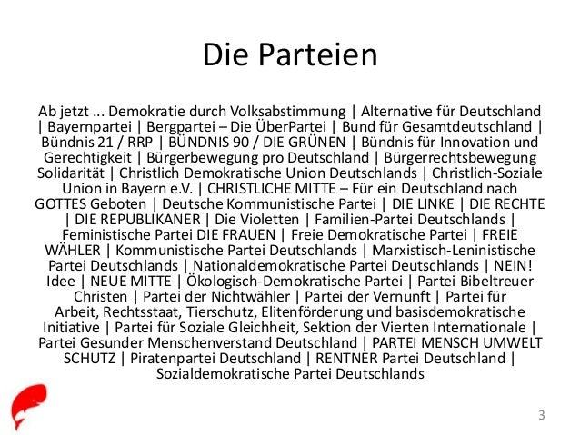 38 parteien treten in deutschland an walmanach deutschland. Black Bedroom Furniture Sets. Home Design Ideas