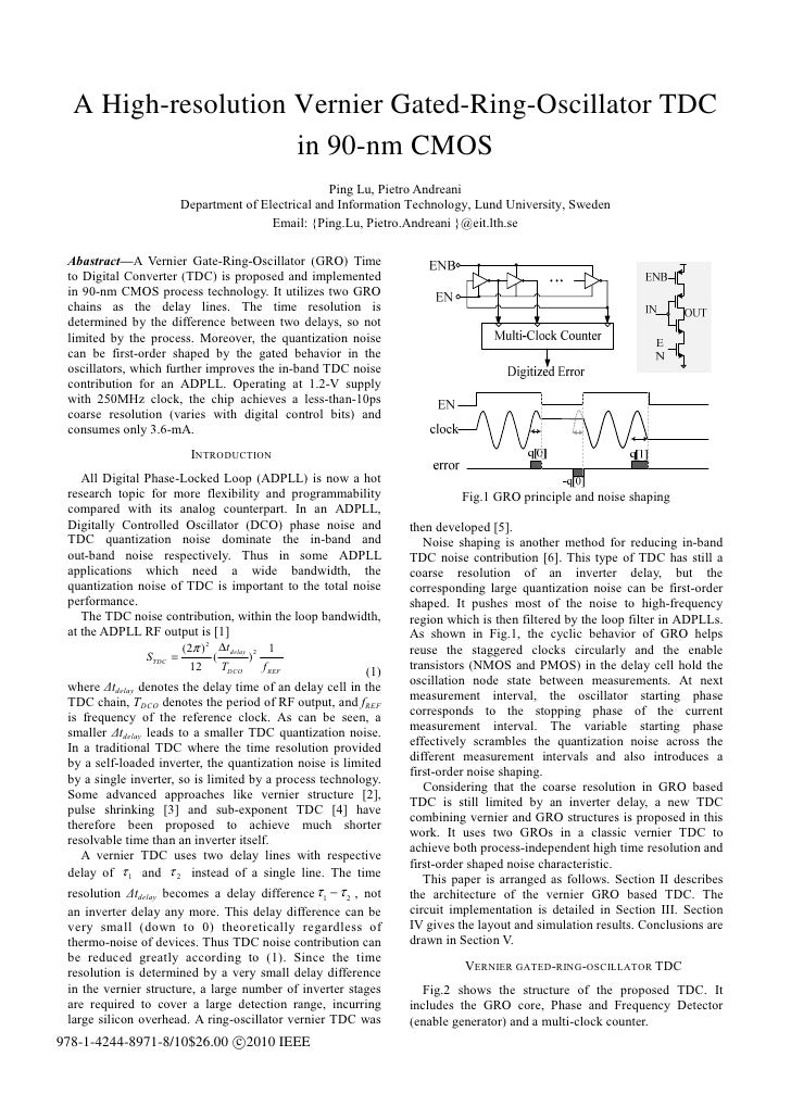 A High-resolution Vernier Gated-Ring-Oscillator TDC                    in 90-nm CMOS                                      ...