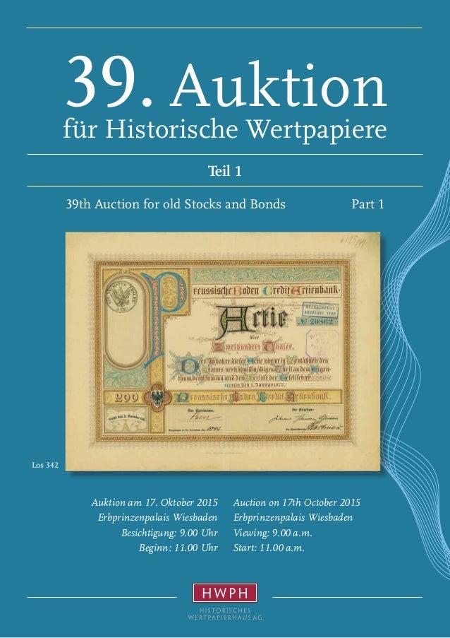 Los 342 Auction on 17th October 2015 Erbprinzenpalais Wiesbaden Viewing: 9.00 a.m. Start: 11.00 a.m. Auktion am 17. Oktobe...
