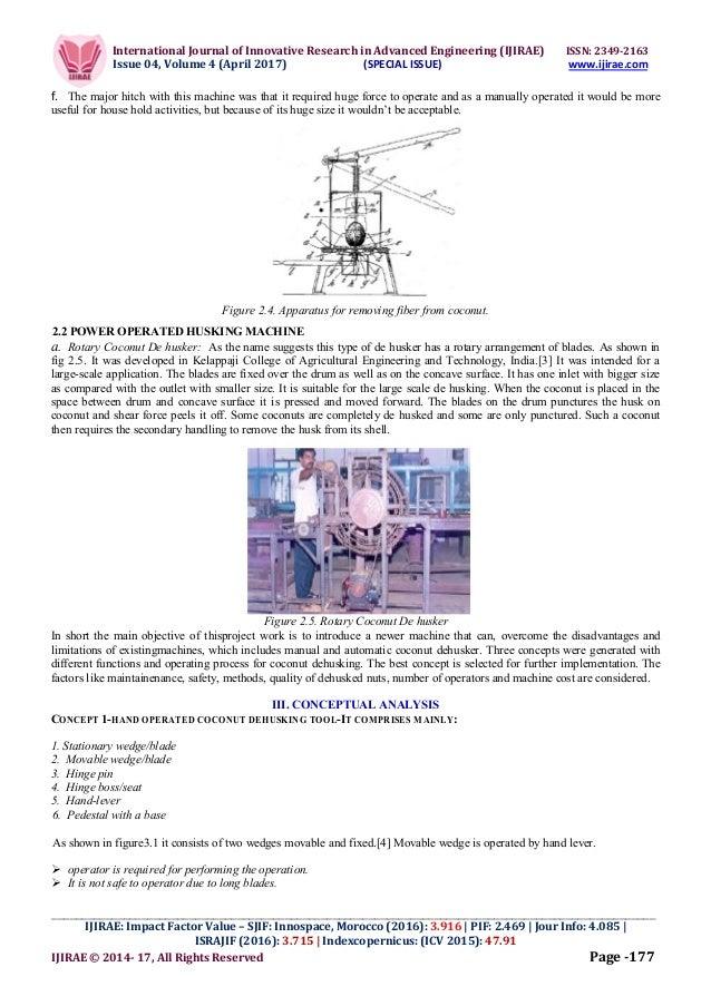 literature review for coconut dehusking machine