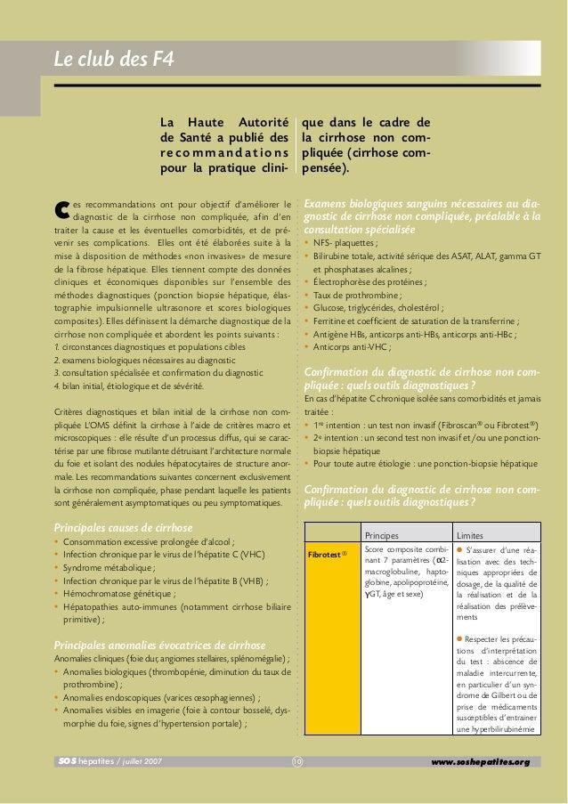 Le club des F4 La Haute Autorité de Santé a publié des recommandations pour la pratique clini-  que dans le cadre de la ci...