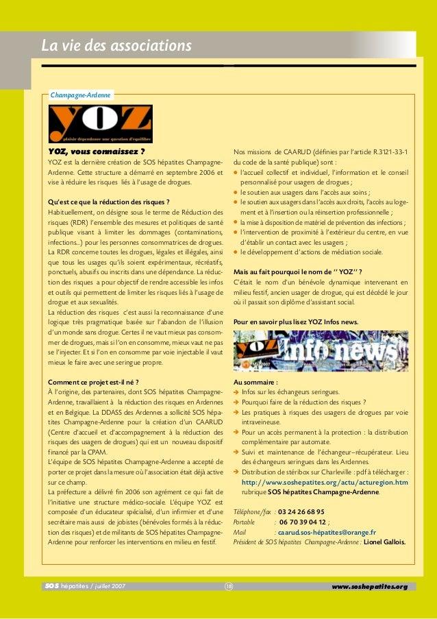 La vie des associations Champagne-Ardenne  YOZ, vous connaissez ?  Nos missions de CAARUD (définies par l'article R.3121-3...