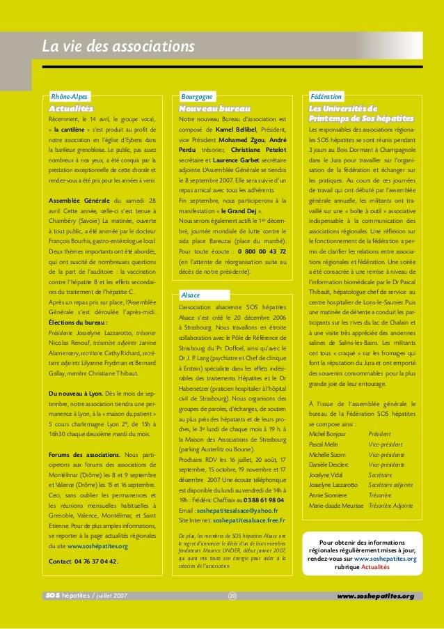 La vie des associations Rhône-Alpes  Bourgogne  Fédération  Actualités  Nouveau bureau  Récemment, le 14 avril, le groupe ...