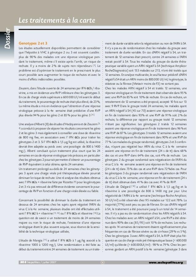 Dossier  Les traitements à la carte Genotypes 2 et 3  ment de durée variable selon la négativation ou non de l'ARN à S4. I...