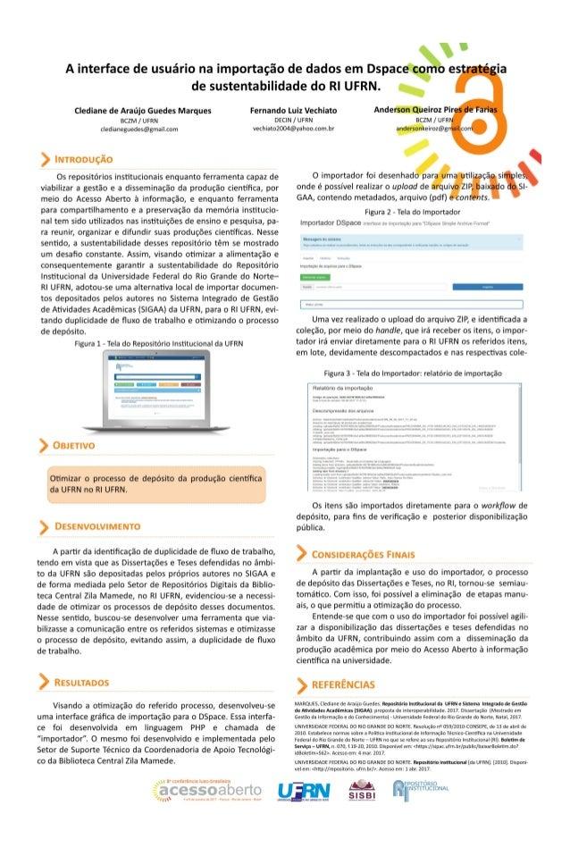 A interface de usuário na importação de dados em Dspace como estratégia de sustentabilidade do RI UFRN - CONFOA 2017
