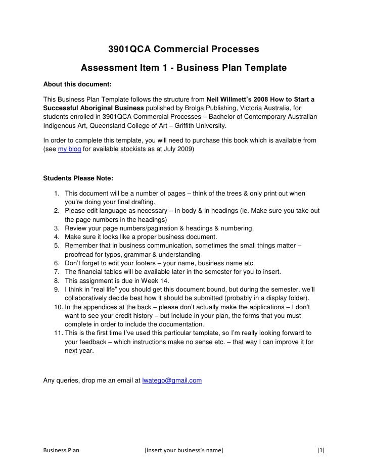 QCA Business Plan Concept Template - Australian business plan template