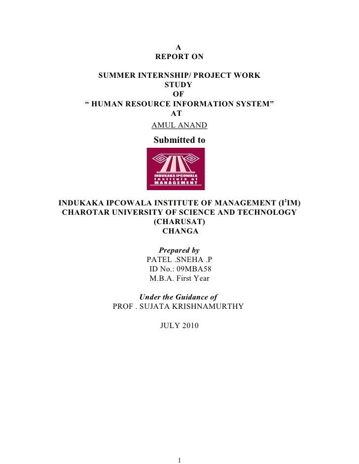 A                    REPORT ON          SUMMER INTERNSHIP/ PROJECT WORK                     STUDY                       OF...
