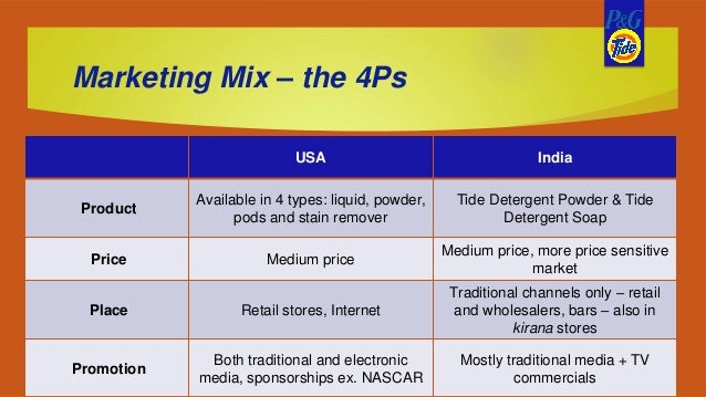 tide detergent 4ps While consumers of most goods and services see value as primarily an economic evaluation (which detergent is the best buy), the value fans derive from attending sporting events is likely to be more of an emotional decision.