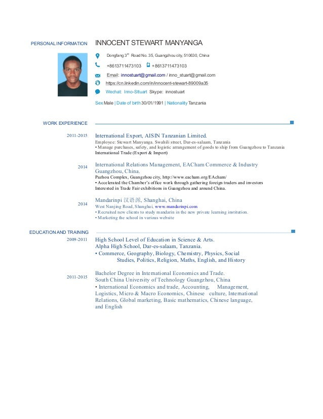 PERSONAL INFORMATION resume PDF