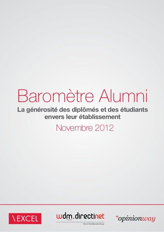 Baromètre AlumniLa générosité des diplômés et des étudiants        envers leur établissement            Novembre 2012     ...