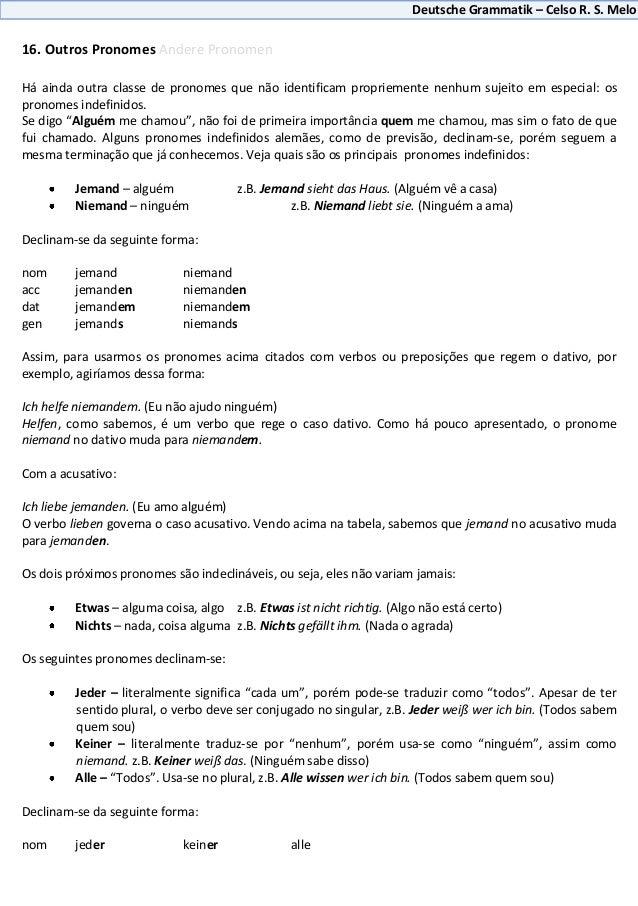 Deutsche Grammatik – Celso R. S. Melo16. Outros Pronomes Andere PronomenHá ainda outra classe de pronomes que não identifi...