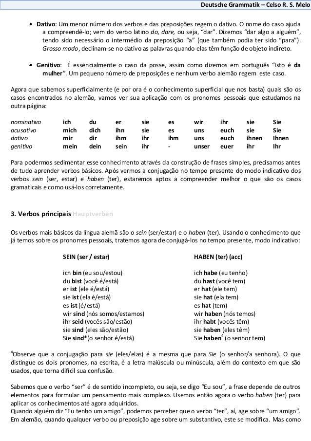 Deutsche Grammatik – Celso R. S. Melo         Dativo: Um menor número dos verbos e das preposições regem o dativo. O nome ...