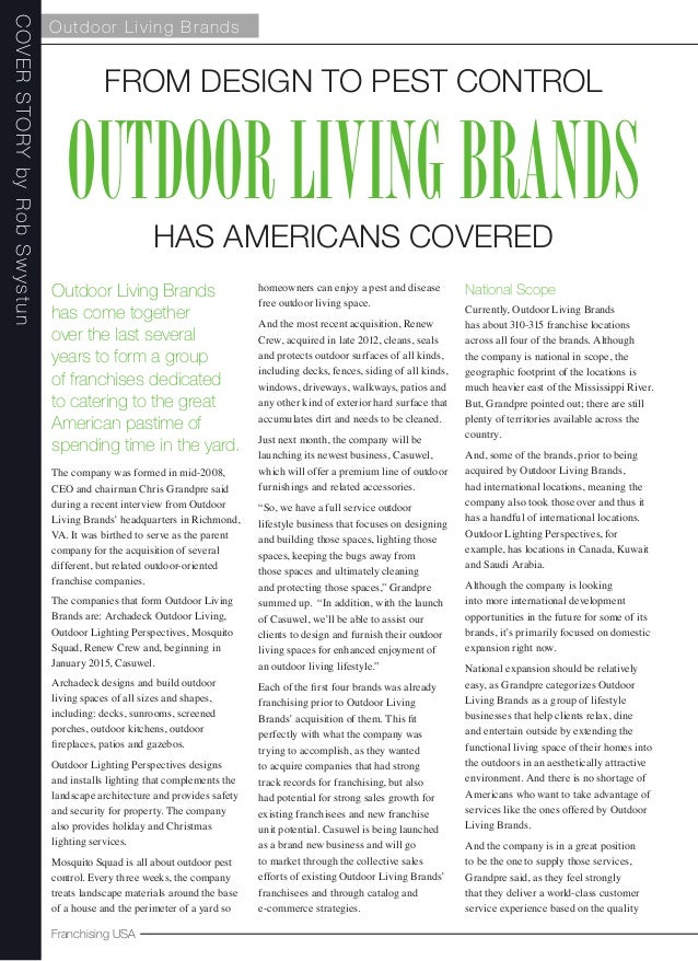 Outdoor Living Brands : Franchising USA - December 2014 - Cover Story - Outdoor ...