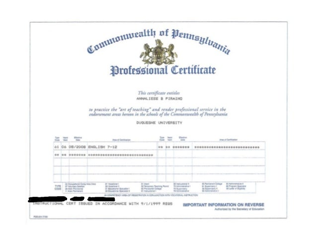 pa state teaching certificate