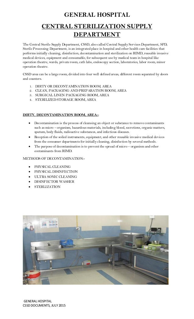 Endoscopy Cleaning Room: CSSD