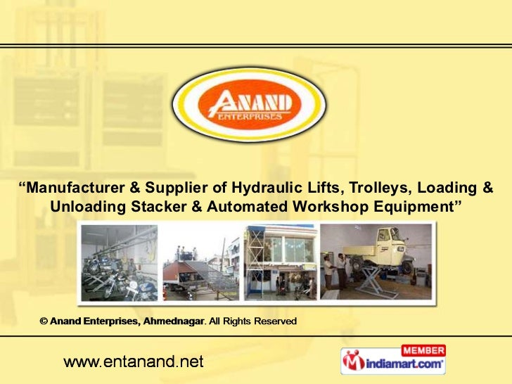 """Manufacturer & Supplier of Hydraulic Lifts, Trolleys, Loading &   Unloading Stacker & Automated Workshop Equipment"""