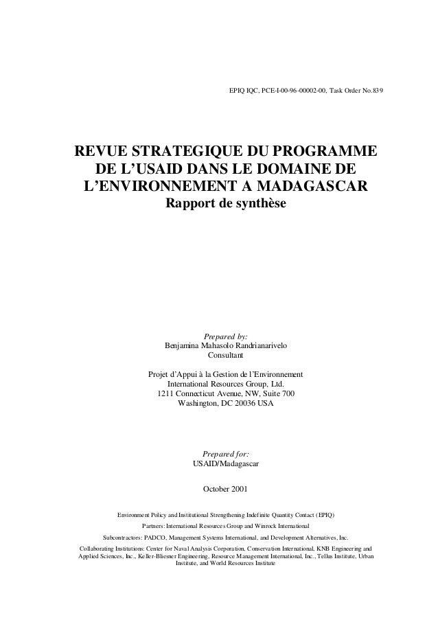 EPIQ IQC, PCE-I-00-96-00002-00, Task Order No.839 REVUE STRATEGIQUE DU PROGRAMME DE L'USAID DANS LE DOMAINE DE L'ENVIRONNE...
