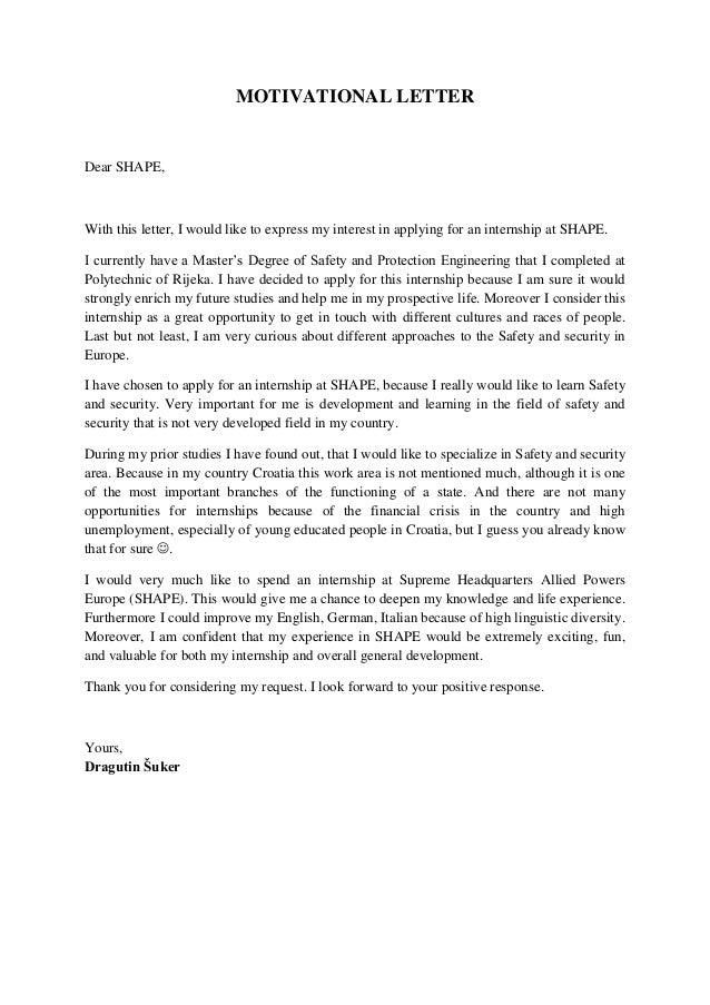 motivation letters for internship