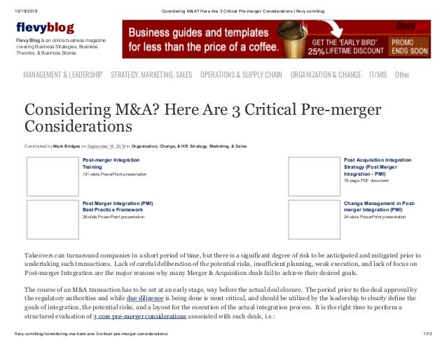 10/19/2019 Considering M&A? Here Are 3 Critical Pre-merger Considerations | flevy.com/blog flevy.com/blog/considering-ma-h...