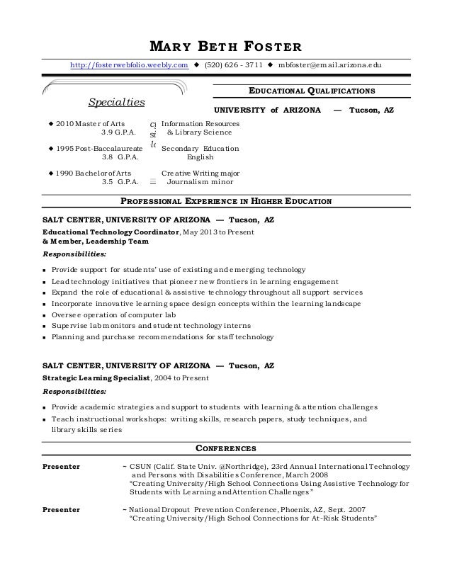 foster resume ed tech coord