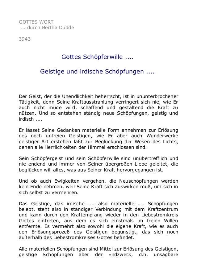 GOTTES WORT ... durch Bertha Dudde 3943 Gottes Schöpferwille .... Geistige und irdische Schöpfungen .... Der Geist, der di...
