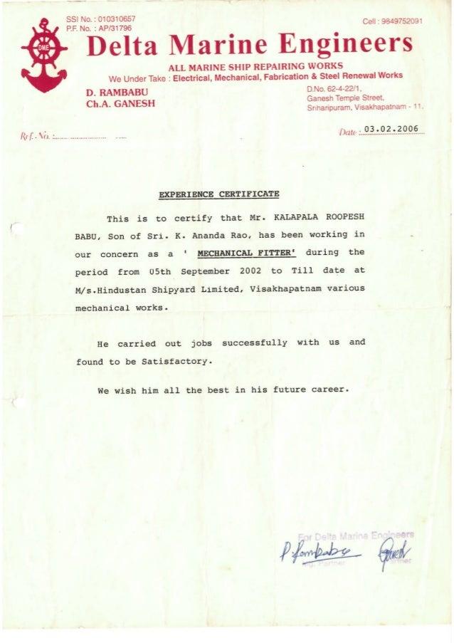 Service Certificate Delta Marine