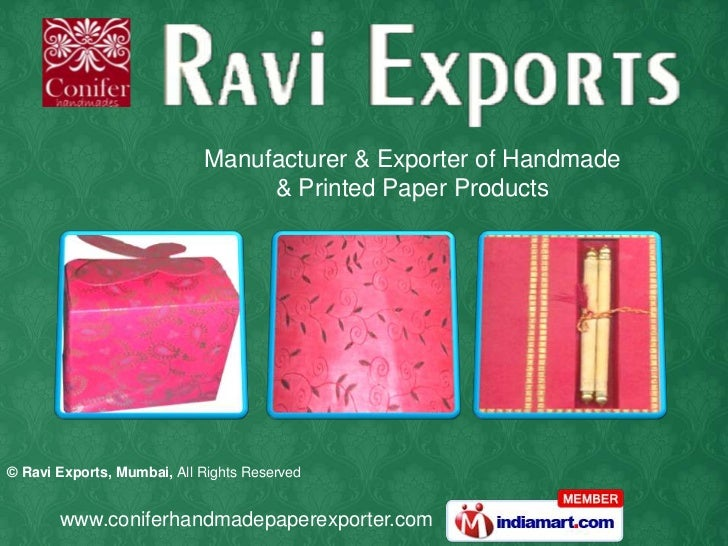 Manufacturer & Exporter of Handmade <br />& Printed Paper Products<br />