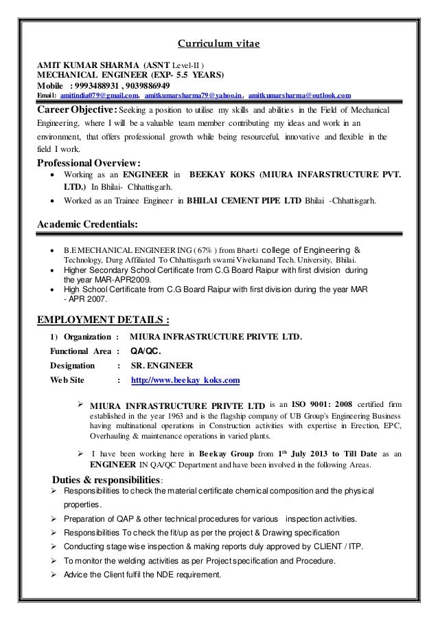 resume for qa qc engineer